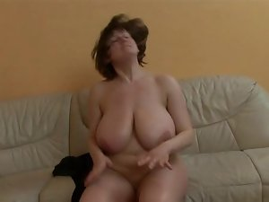 Slutty mom with absolutely huge knockers getting screwed