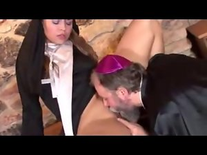 Older FATHER & 19 years old NUN : Brutal Backdoor