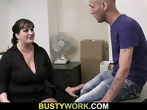 Top heavy nympho in pantyhose rides his shaft at work