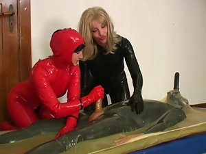 2 sensual wives rubber + a lad with 2 penises