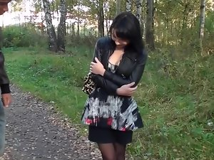 Eva Dark has butthole trio in the quiet public park in Russia