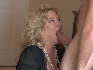 Sensual granny is getting banged by an aged dude on the bed here