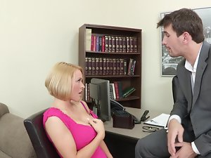 Short haired office young lady gets nailed by an European porn stud