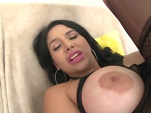 A Latina that has terrific mega big melons is getting her moist twat caressed