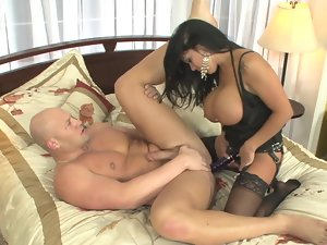 Brunette vixen with a strap-on bangs her freaky partner so rough