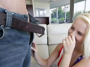 Bleach blond Darcie Belle goes for a ride on xxl huge cock