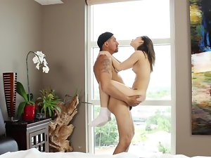 Diminutive Blue Vixen and a huge shaft dude banging dirty