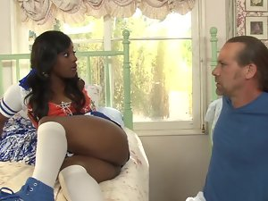 Helpless Slutty ebony has to satisfy all alluring needs of powerful man