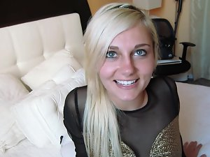 Stunning blond porn newcomer banged dirty in a hotel room