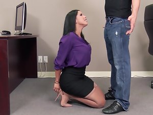 Sensual secretary is able to satisfy her boss's needs