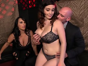 Two buxom vixens are getting their cunts hammered in a crazy threesome action