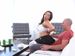 Filthy ebony maid has to follow all the instructions of her boss