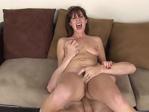 Bawdy dark haired whore gets thumped so well by her personal trainer