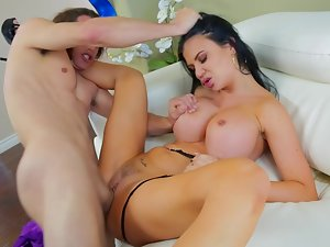 A filthy bitch with mega boobs is taking on a 18 years old studs large phallus