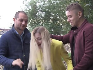 Pretty amateur light-haired gets shared by two good looking dudes outdoors