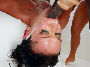 A lot of large meat pole for this remarkable raven haired porn vixen