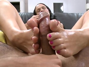 Comely cutie with puny natural knockers is showing us her feet fetish
