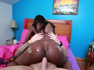 Butty Naughty ebony makes muscled fellow fuck her harder and harder