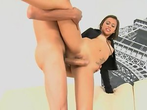 Barely legal teen Mia Lina handles the fat shaft of this tall ebony fellow