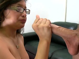 Excellent lady is in a couch casting scene, bare and getting a phallus in
