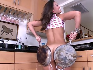 Dark haired porn star with a oiled up ass gets thumped so damn rough
