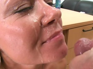 Blond is filmed receiving a attractive load on to her sexual nice looking face