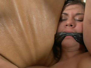 Luscious pussy is getting tied up and then a vibrating sex toy is used on her