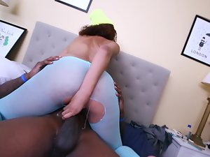 Curly filthy ebony girl is getting drilled by a black mans big rod