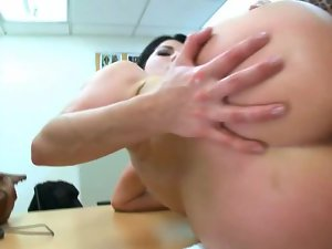Mesmerizing dark haired cutie with a curvy dirty ass gets crushed and creamed