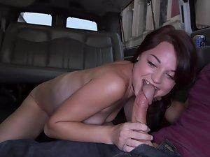 Filthy girl gets on the van and is banged by a musician before the concert