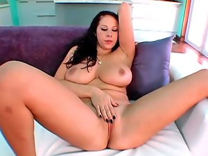 Alluring dark haired Gianna masturbates before receiving a throbbing cum gun