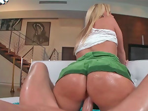 Excellent light-haired Austin Taylor moans while riding a veiny penis