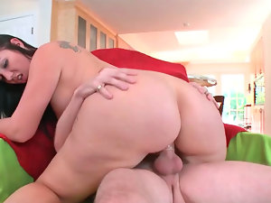 Dainty dark haired Madison Rose find enjoyment in being penetrated from behind