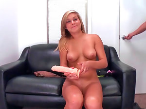 Enticing blondy Kennedy Leigh masturbates before being banged rough