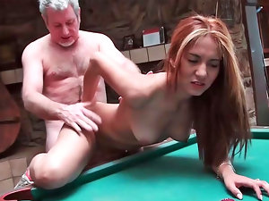 Serena fellatio penis and getting nailed on the pool table