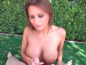 Alison Star perfomring amazing oral during attractive outdoor affair