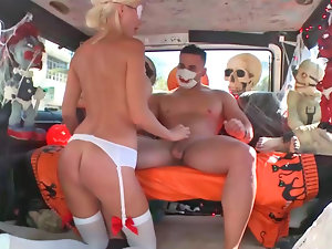 Dreamy chesty blondie moans while being shagged in a van
