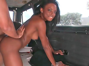 Inviting naughty ebony doll gets shagged rough in a van