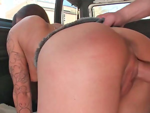 Krystal Main fellatio penis and getting crushed in the mini bus