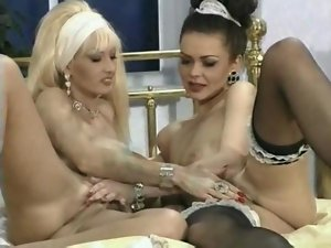 Extremely large tits Big titted Blondie Lesbos Has Sex With Her Maid