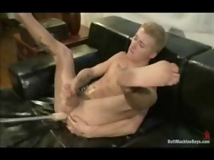 Skater fellow Prince gets banged by huge banging machine and made to cum