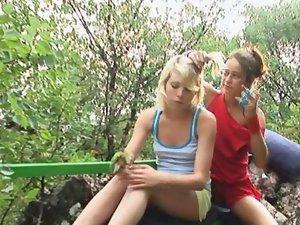 barely legal lesbos make love outdoors clip