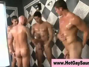 Gays having fun in the shower room