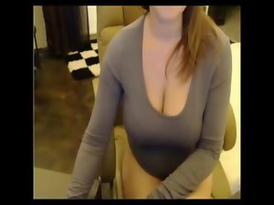Lady with enormous boobs stripping feature