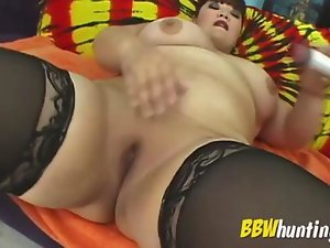 Obese seduces with lingerie and toy