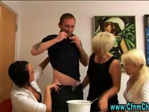 Luscious cfnm english hoes jerk off loser