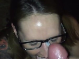 Ponytail glasses mega big melons jizz splattered