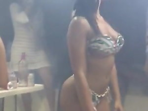 amazing filthy slutty girl dancing in a bar