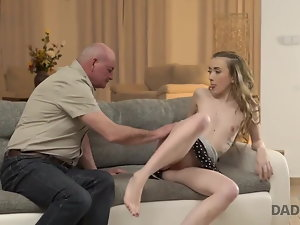 DADDY4K. Nosey young woman dreamed to see boner of her boyfriend's