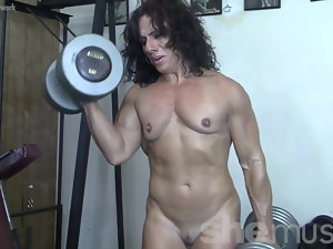 Ripped Woman Muscle Puma Nude in the Gym